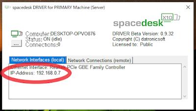 PC側でIPアドレスを確認する