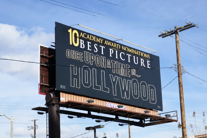 Once Upon a Time in Hollywood 10 Oscar noms neon billboard
