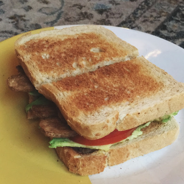 vegan tempeh blt with avocado