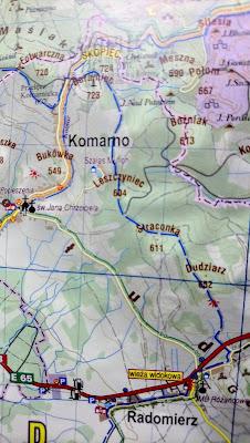 Szlak niebieski na Skopiec przez Dudziarza i Straconkę na mapie Planu z 2016 r.