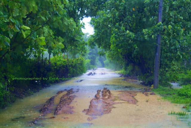Kondisi jalan ketika hujan di Ujunggenteng, berlumpur dan berbatu