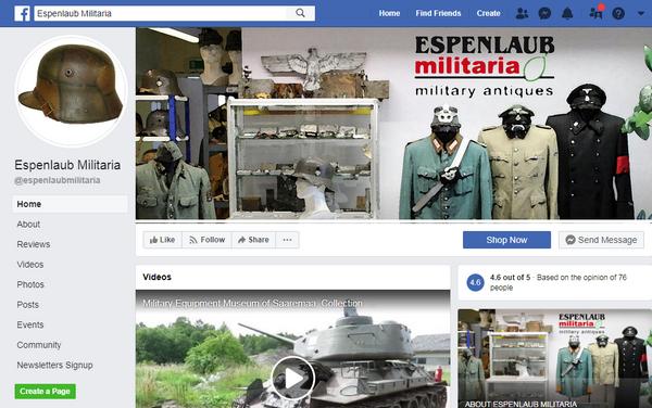 Page Facebook d'Espenlaub Militaria