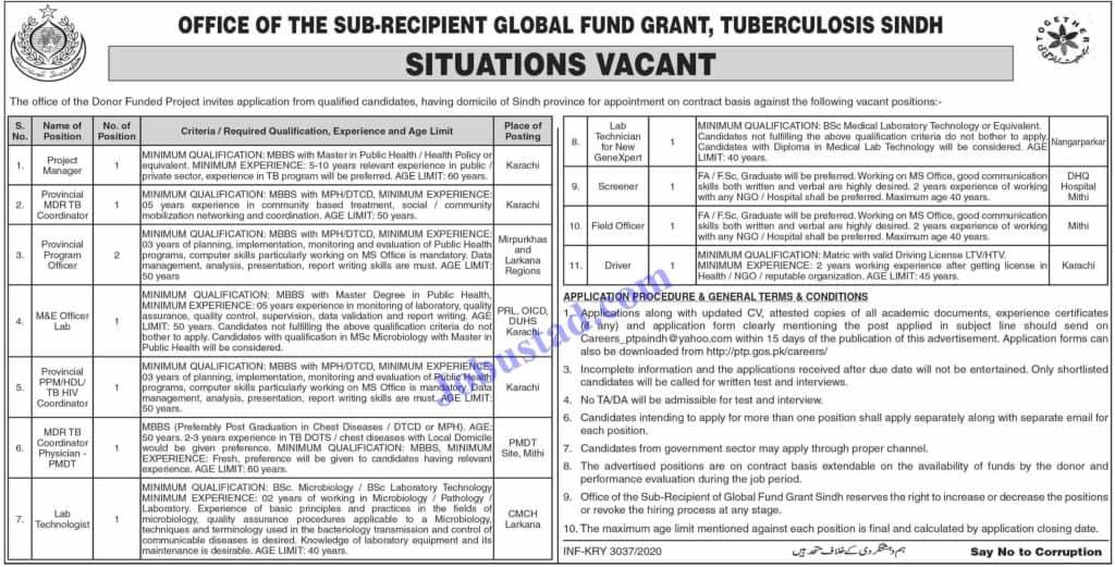 Jobs in Sindh Provincial TB Control Program Nov 2020