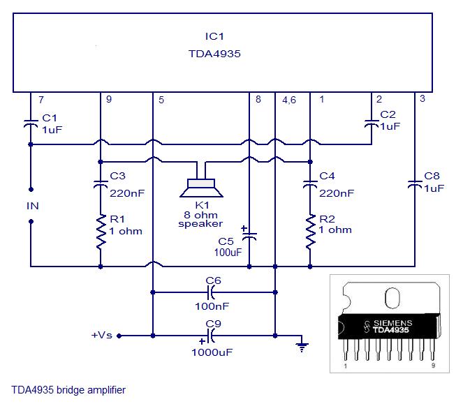 Fabulous Tda4935 Bridge Amplifier Circuit Simple Schematic Diagram Wiring Cloud Hisonuggs Outletorg