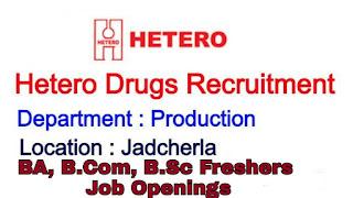 BSc, B.com ,BA Freshers Job Vacancy Walk in Interview Drive For Hetero Drugs Limited