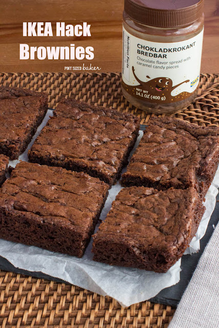 IKEA chocolate and caramel spread three ingredient brownies. It's the best tasting IKEA hack ever!