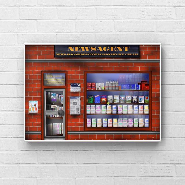 1980s newsagent artwork by Mark Taylor shop window art,