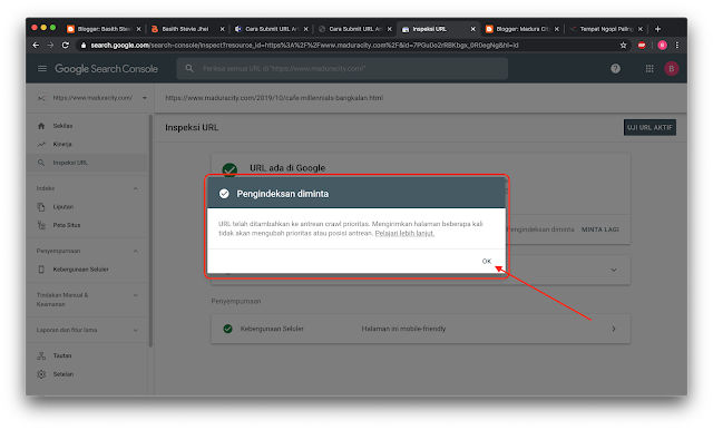 Submit Url Postingan Artikel Di Web Master Tools Terbaru Langsung Di Index