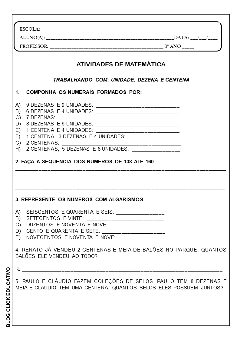 Atividades De Matematica Para Imprimir 3º Ano Clicks Educativos
