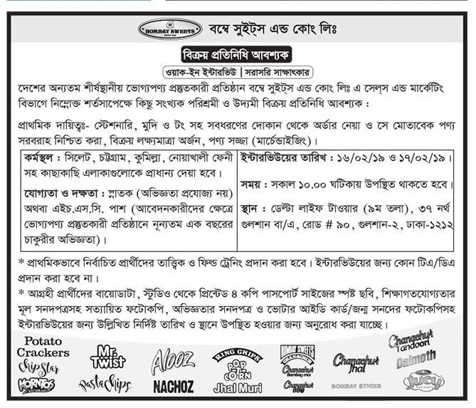 Bombay sweet job circular published 2019