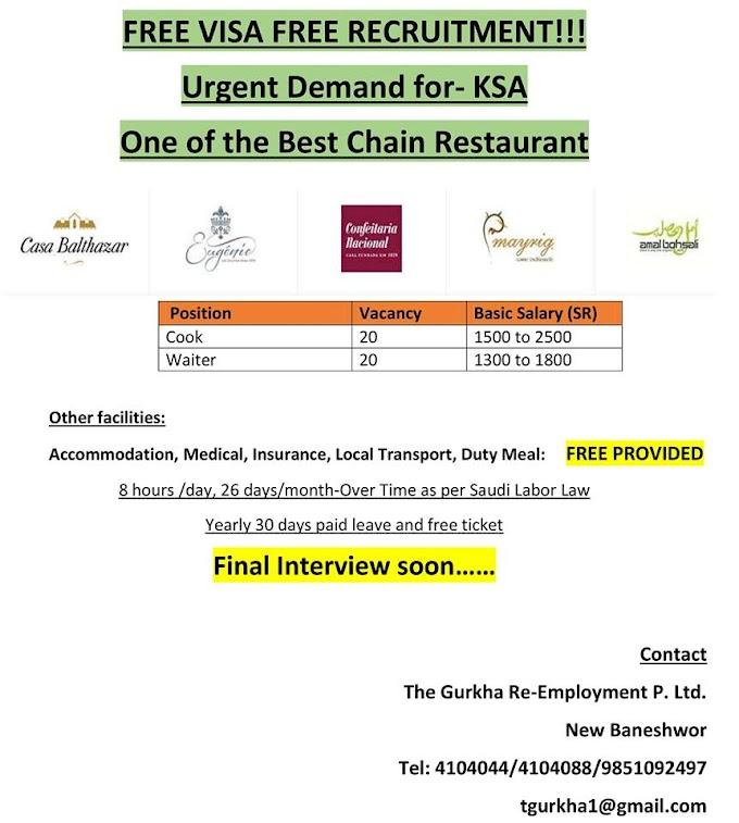 FREE VISA FREE TICKET JOBS IN SAUDI ARABIA, SALARY RS 70,000