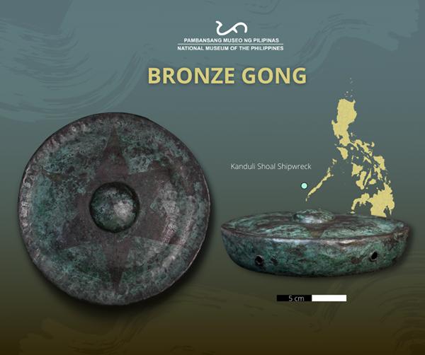 Bronze gongs found in the Kanduli shoal shipwreck