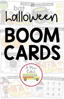 Halloween themed Kindergarten, Preschool or First Grade digital math and phonics Boom Cards for centers or assessments.