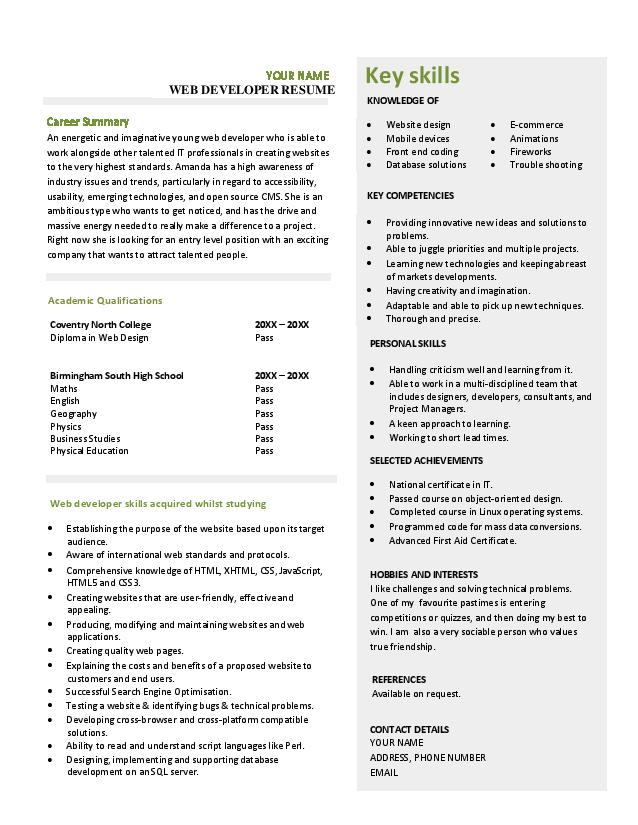 download resume for web developer fresher