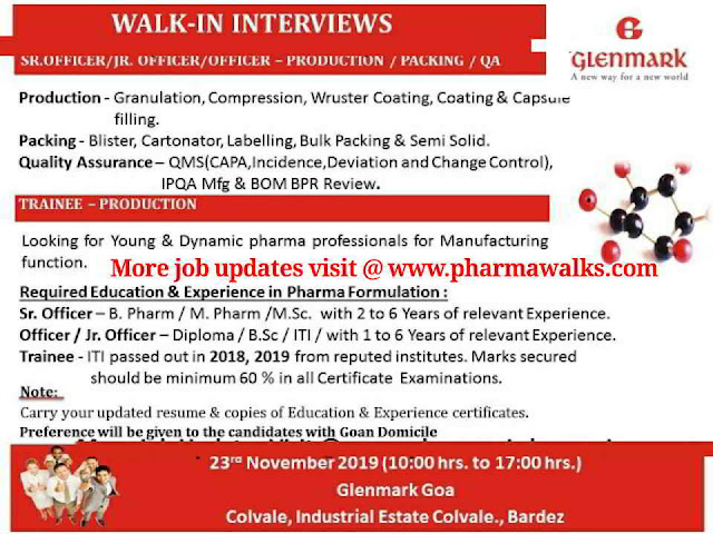 Glenmark Pharmaceuticals walk-in interview for Freshers and Experienced candidates on 23rd Nov' 2019