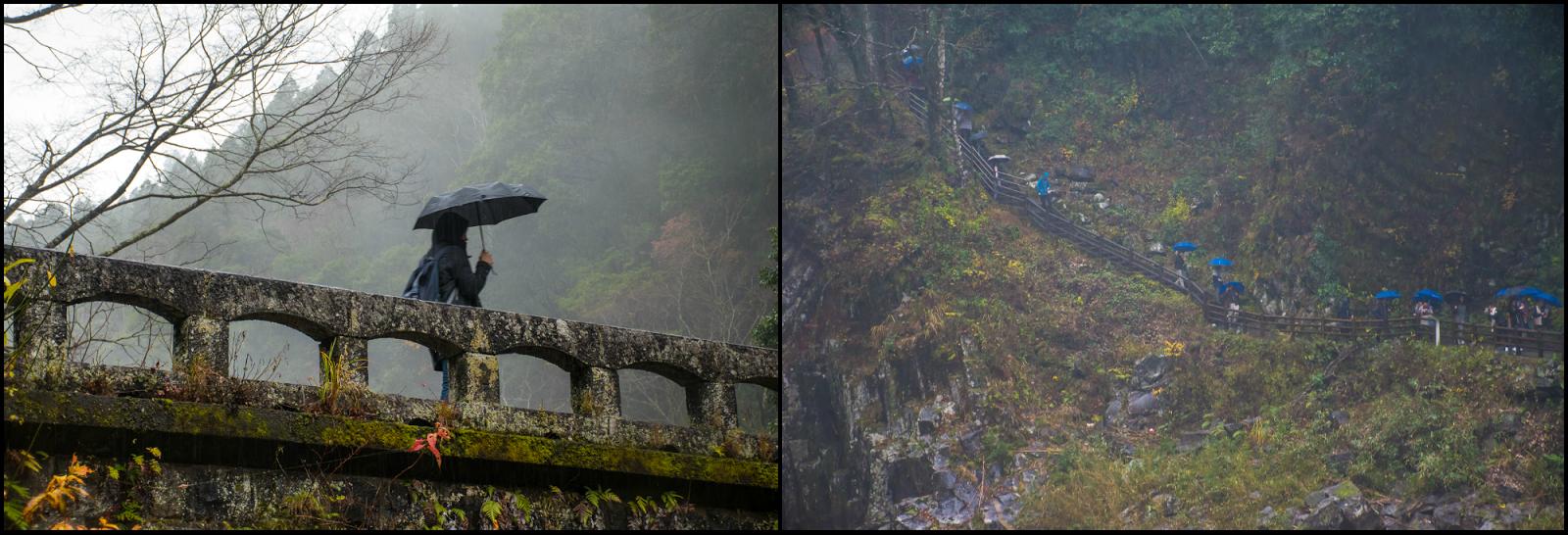 fog and rain in takachiho gorge japan
