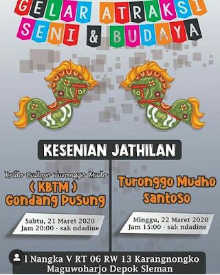 22 Maret 2020 - Pkl 15.00 - Jathilan Turonggo Mudho Santoso - Jl Nangka V RT 6 RW 13 Karangnongko Maguwoharjo Depok Sleman