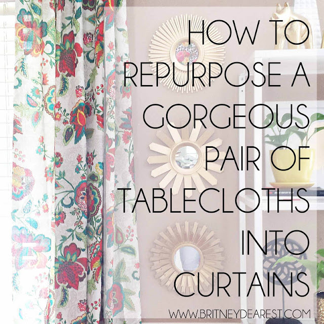 How to, TUTORIAL, Repurpose, Pair of, Tablecloths, Curtains
