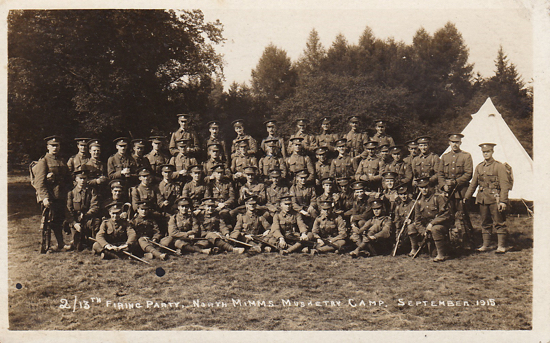 Photograph of the 2/13th Firing Party, North Mimms Musketry Camp. September 1915. Unposted and unknown publisher - image from Peter Miller's collection
