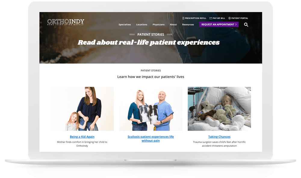 OrthoIndy patient stories blog landing page