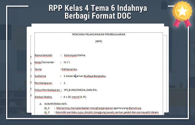 RPP Kelas 4 Tema 6 Indahnya Berbagi