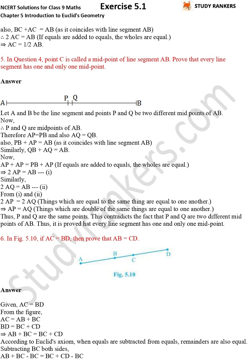 NCERT Solutions for Class 9 Maths Chapter 5 Introduction to Euclid's Geometry Exercise 5.1 Part 3