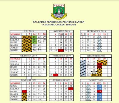 Kalender Pendidikan 2019/2020 Banten (Excel, PDF)
