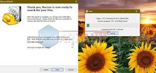 Tampilan jendela Recuva siap memindai drive dan tampilan proses pemindaian Recuva