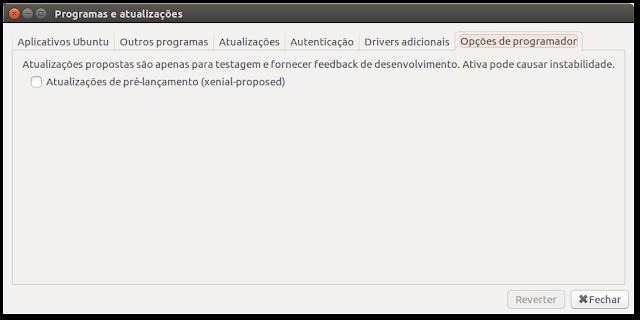 """Atualizações """"proposed"""" Ubuntu"""