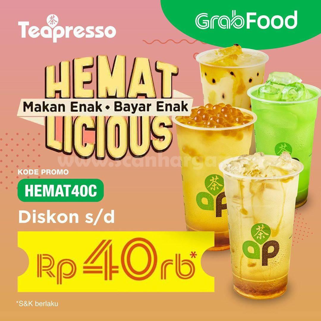 Teapresso Promo Hemat Licious Diskon Rp 40.000 khusus pemesanan via Grabfood
