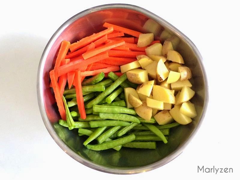 Haricots, pommes de terre, carottes.