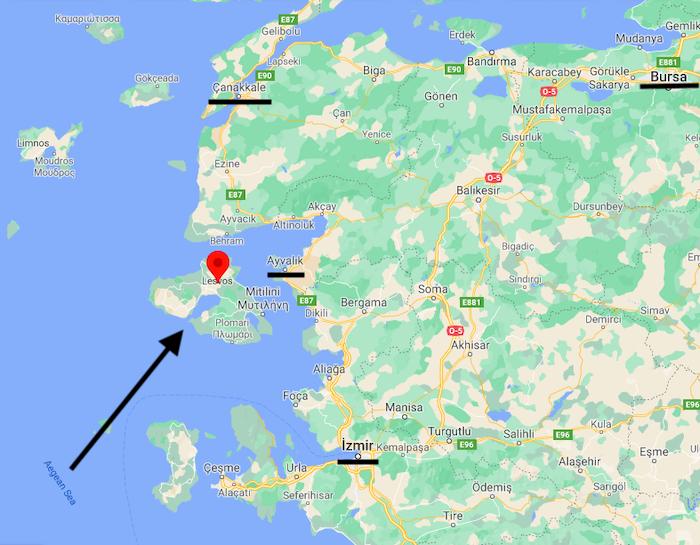 Midilli Adası'nın Türkiye'den uzaklığı