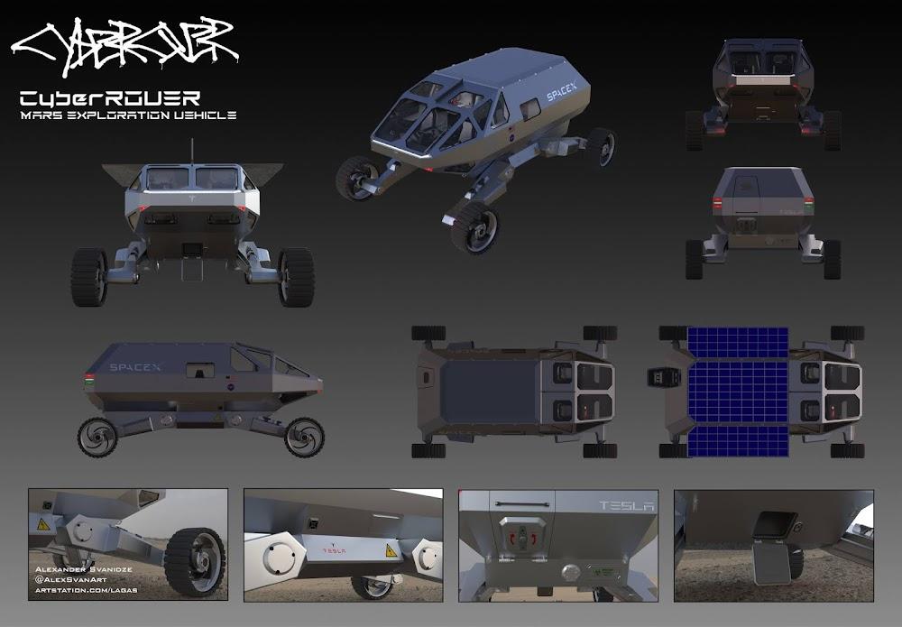 SpaceX Mars exploration rover by Alexander Svanidze - schematics