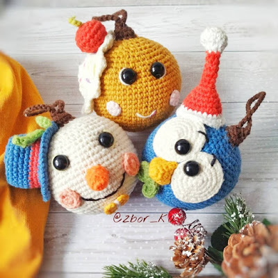 Вязаные новогодние шарики