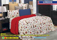 Sprei Custom Katun Lokal Anak I Love London Vintage Country Merah Putih Biru