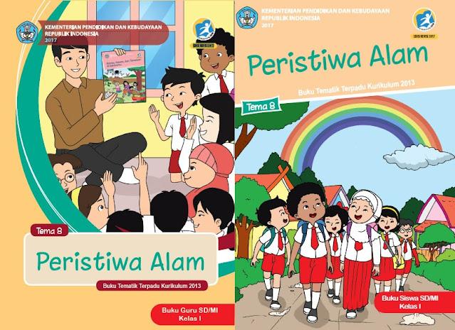 """Buku Tematik Kelas 1 TEMA 8 """"Peristiwa Alam"""" pdf K13 Revisi 2017 Guru & Siswa"""