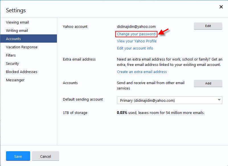 Cara Merubah Alamat  Password Email Yahoo terbaru