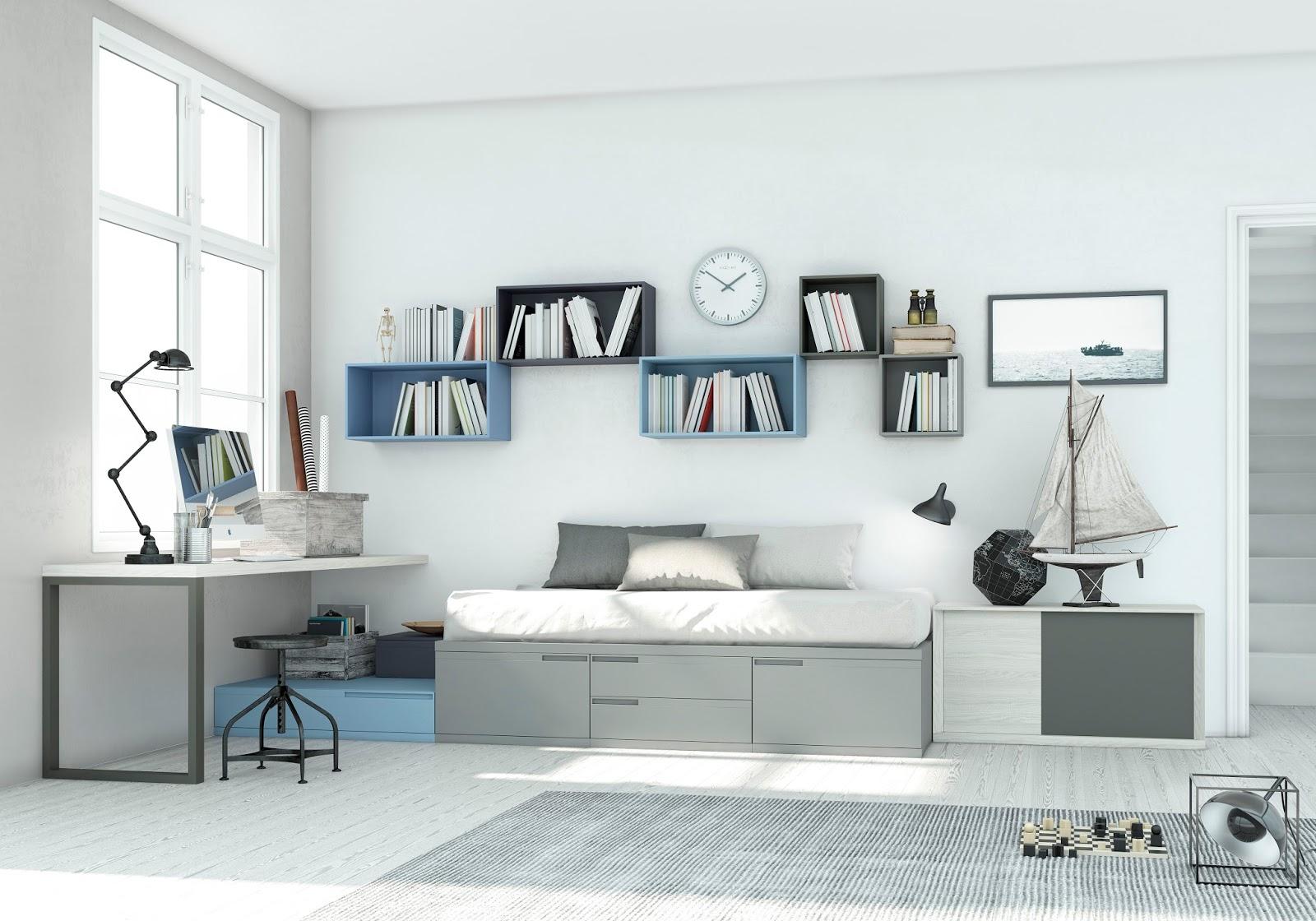 La zona de estudio en este dormitorio se ha acoplado al lado de la cama compacto - El chaflan mueble juvenil ...