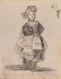 Madwoman Who Sells Delights by Francisco Goya - Genre Drawings from Hermitage Museum