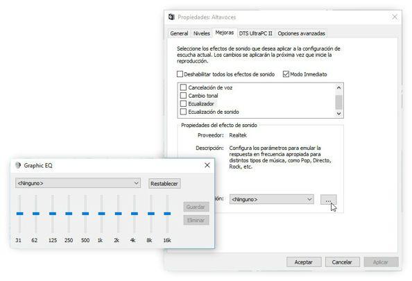 Utilizar el ecualizador oculto en Windows