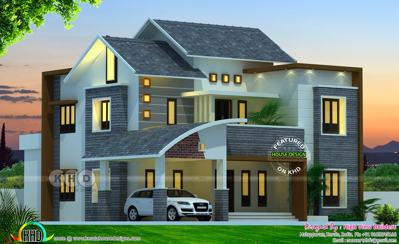 Modern Kerala home design by High View Builders - Kerala ...