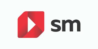 """El logotipo de SM consta de una especie de cuadrado con las esquinas superior izquierda e inferior derecha más redondeadas en color rojo. En el centro del cuadrado hay un triángulo blanco. Se parece mucho al logo de youtube. Al lado está escrito """"SM"""" con letras negras."""