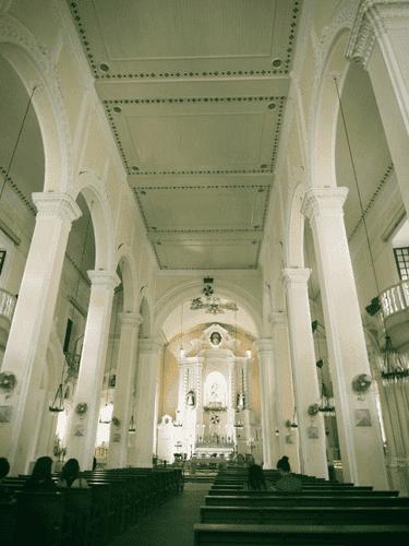 View from the aisle of Sto. Domingo Church at Largo do Senado in Macau