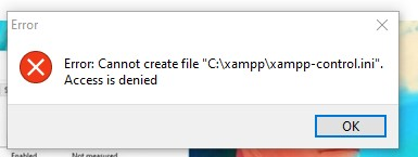 error icon tray xampp