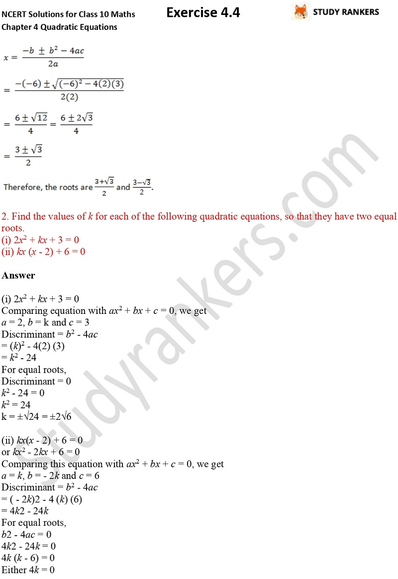 NCERT Solutions for Class 10 Maths Chapter 4 Quadratic Equations Exercise 4.4 Part 2