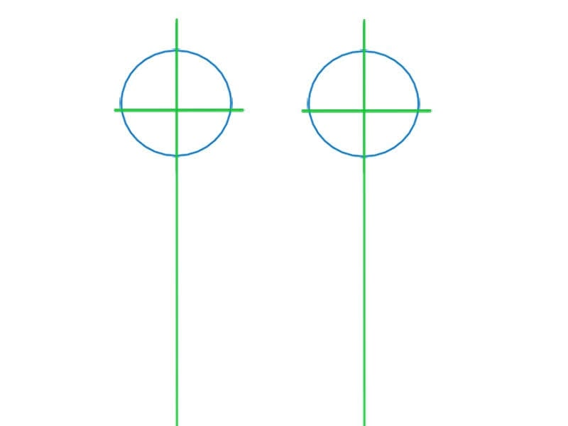 Etape une pour dessiner le visage d'un chibi: dessiner les traits de constructions