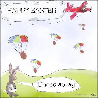 Chocs Away Happy Easter Easter Rabbit Cartoon E-Card