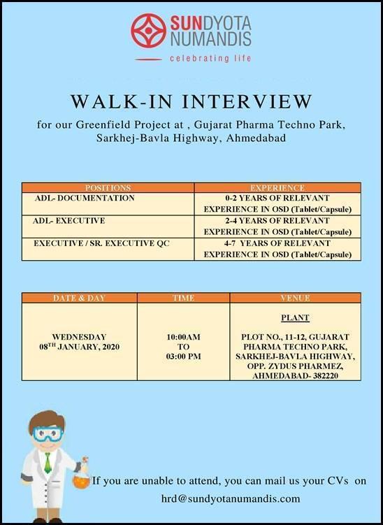 Sundyota Numandis Pharma - Walk-In Interview for ADL & QC on 8th Jan' 2020