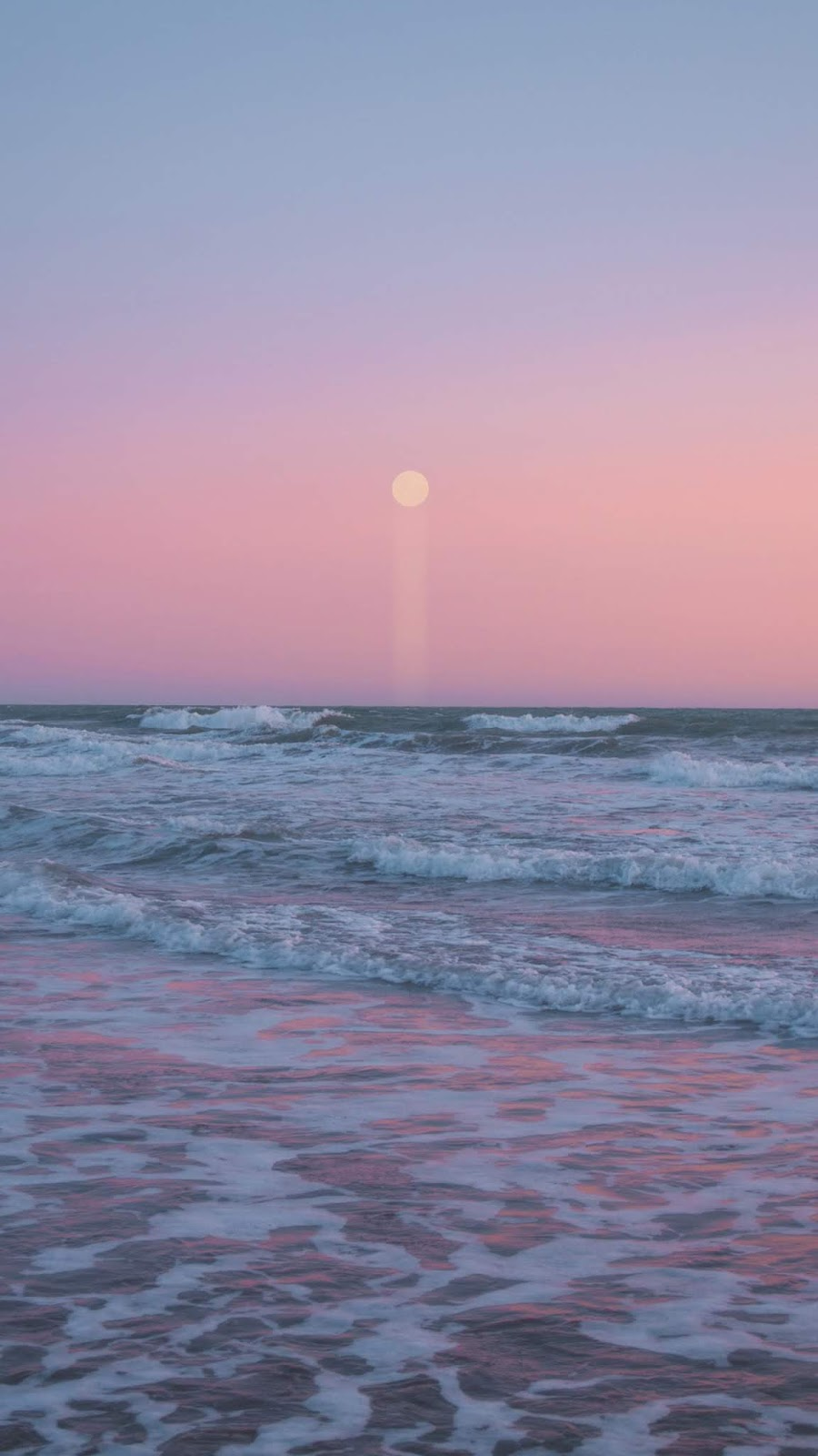 Moon in the pink sky on the beach