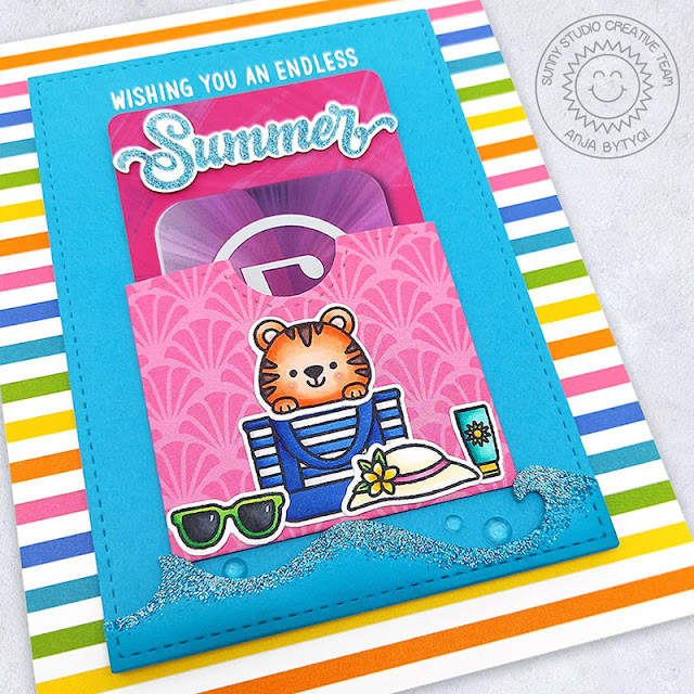Sunny Studio Stamps: Gift Card Pocket Dies Beach Buddies Summer Themed Card by Anja Bytyqi